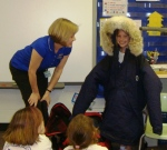 Cold weather gear swallows up a first grader.