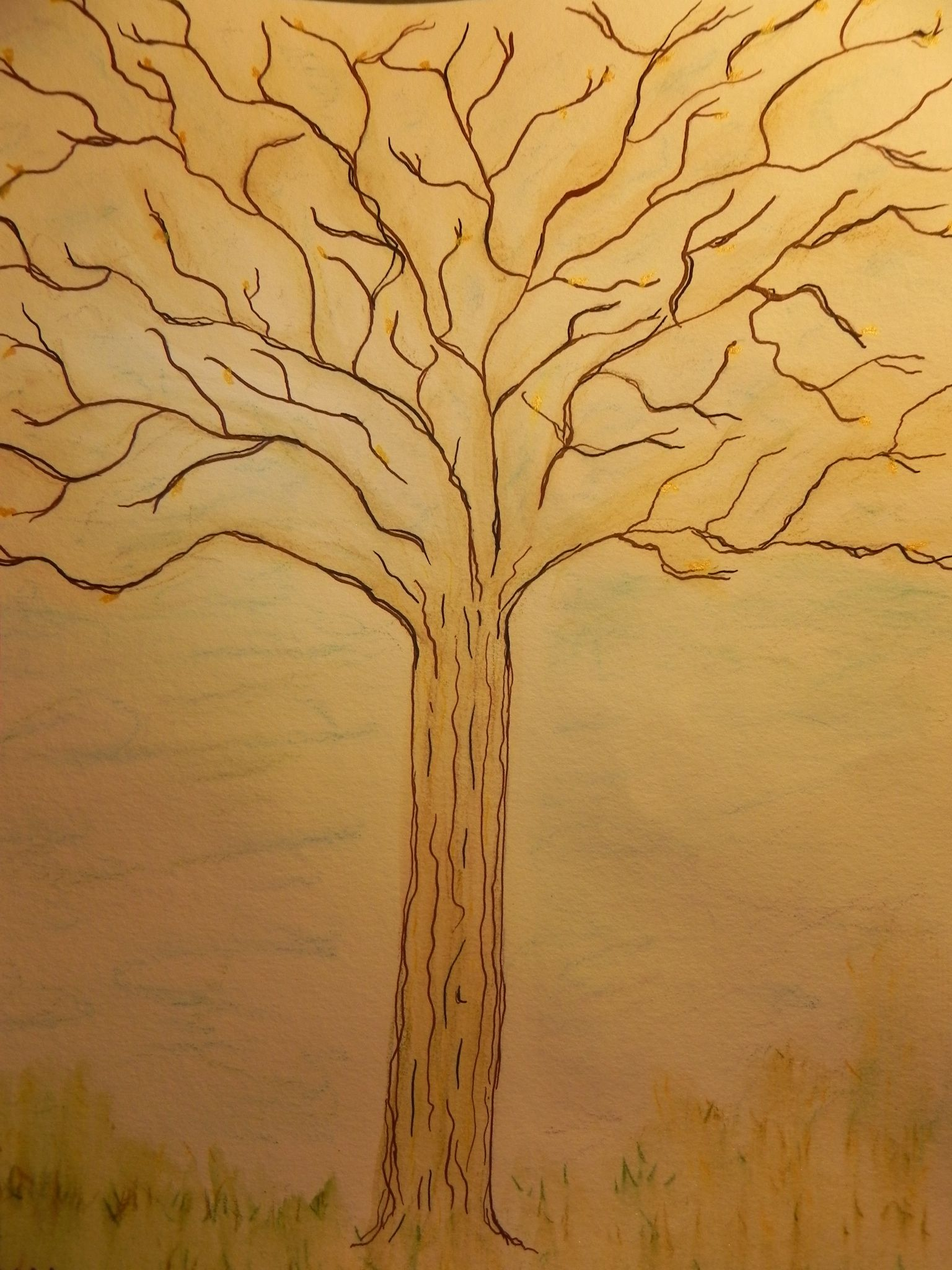 easy tree drawing with roots free here