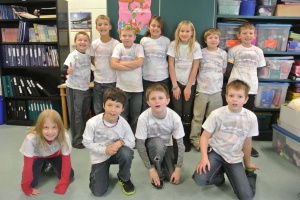 Students wearing the Aurora Borealis T-Shirts