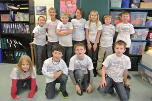 Students wearing the Aurora Borealis T-Shirts