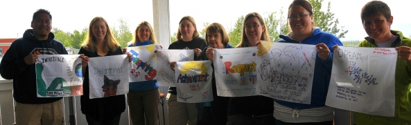 The teachers with their quilt squares