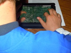 One of my students working with Google Earth trying to locate the other class