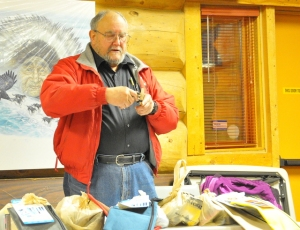 Jim explaining items in sled repair kit