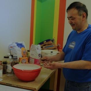 Middy Johnson making pancakes