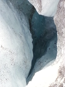 A moulin - or circular shaft where water enters the glacier