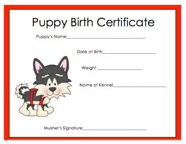 Printable dog health record template dog care resources free puppy adoption certificate template yelopaper Choice Image